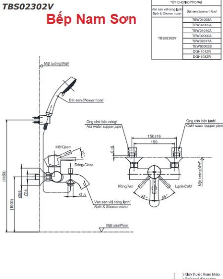 Bộ sen tắm nóng lạnh LN TBS02302V/DGH108ZR