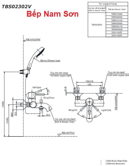 Bộ sen tắm nóng lạnh LN TBS02302V/TBW01008A