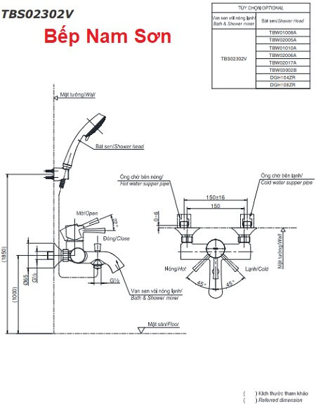 Bộ sen tắm nóng lạnh LN TBS02302V/TBW02006A