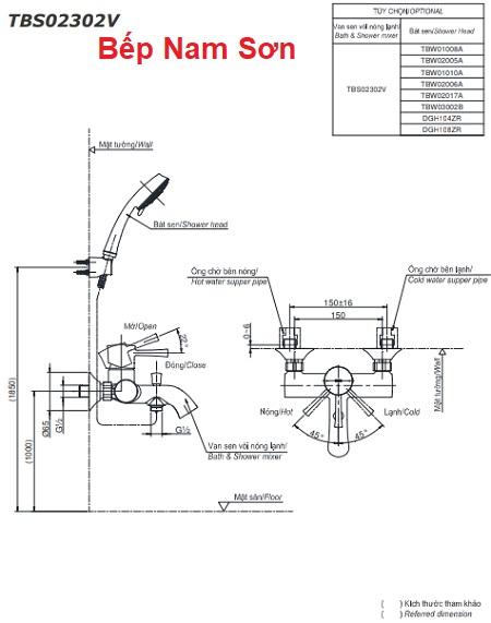 Bộ sen tắm nóng lạnh LN TBS02302V/TBW02017A