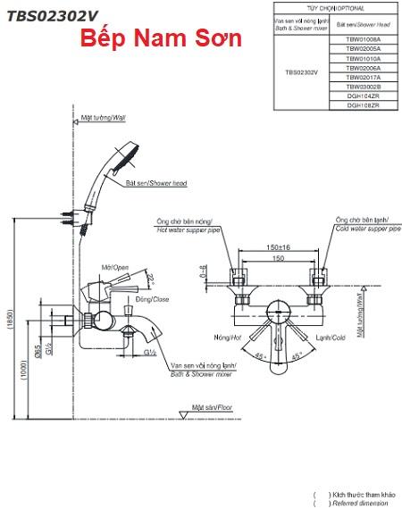 Bộ sen tắm nóng lạnh LN TBS02302V/TBW03002B