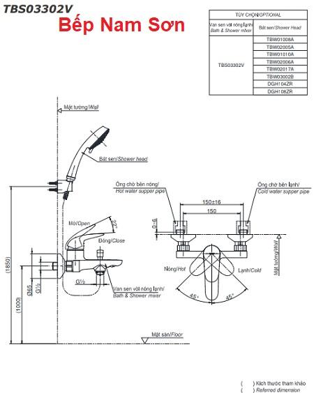 Bộ sen tắm nóng lạnh LC TBS03302V/TBW01008A