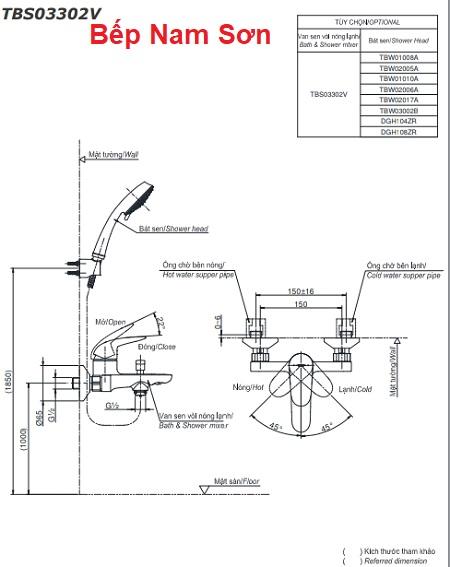 Bộ sen tắm nóng lạnh LC TBS03302V/TBW01010A