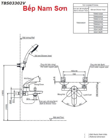 Bộ sen tắm nóng lạnh LC TBS03302V/TBW02005A
