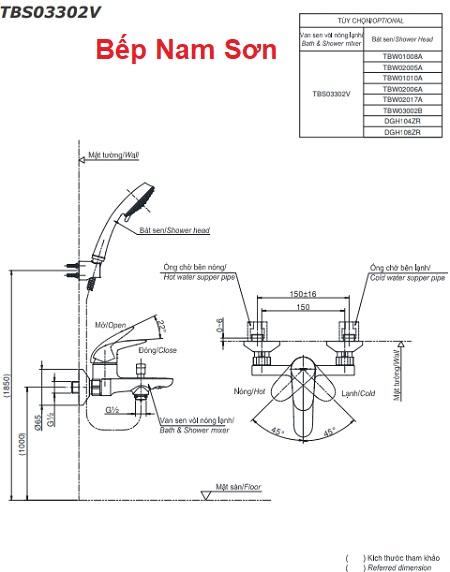 Bộ sen tắm nóng lạnh LC TBS03302V/TBW02017A