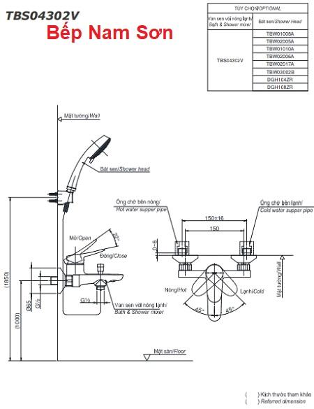 Bộ sen tắm nóng lạnh LF TBS04302V/TBW01008A