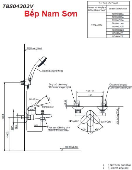 Bộ sen tắm nóng lạnh LF TBS04302V/TBW01010A