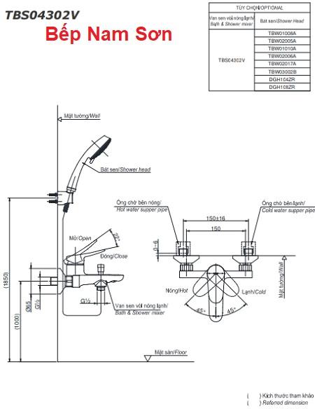 Bộ sen tắm nóng lạnh LF TBS04302V/TBW02005A