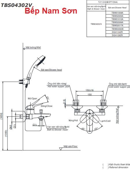 Bộ sen tắm nóng lạnh LF TBS04302V/TBW02006A