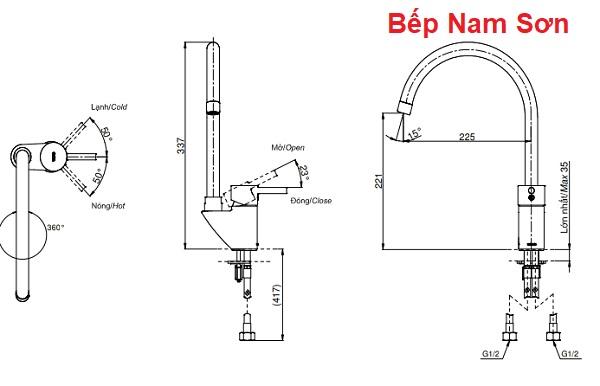 Vòi bếp nóng lạnh DK307AS