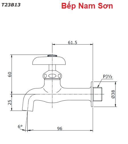 Vòi nước lạnh gắn tường T23B13