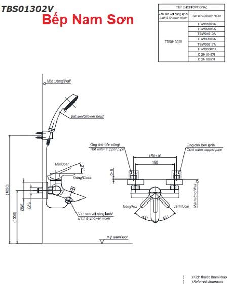 Bộ sen tắm nóng lạnh LB TBS01302V/DGH104ZR