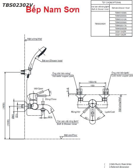 Bộ sen tắm nóng lạnh LN TBS02302V/DGH104ZR