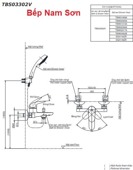 Bộ sen tắm nóng lạnh LC TBS03302V/DGH104ZR