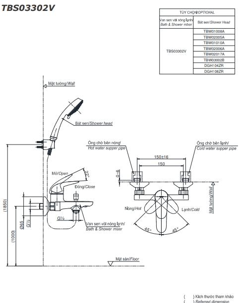 Bộ sen tắm nóng lạnh LC TBS03302V/TBW03002B