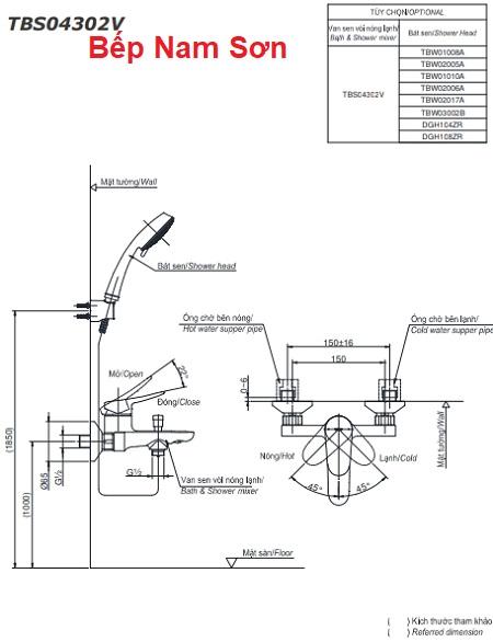 Bộ sen tắm nóng lạnh LF TBS04302V/TBW03002B