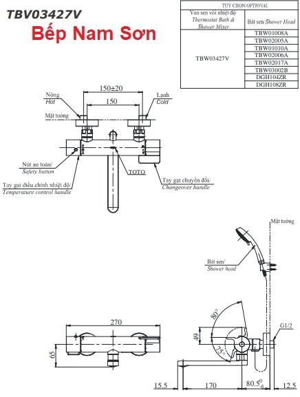 Sen tắm nhiệt độ TBV03427V/TBW01008A