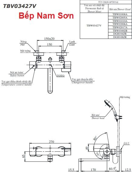 Sen tắm nhiệt độ TBV03427V/TBW02006A