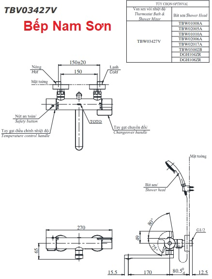 Sen tắm nhiệt độ TBV03427V/TBW02017A