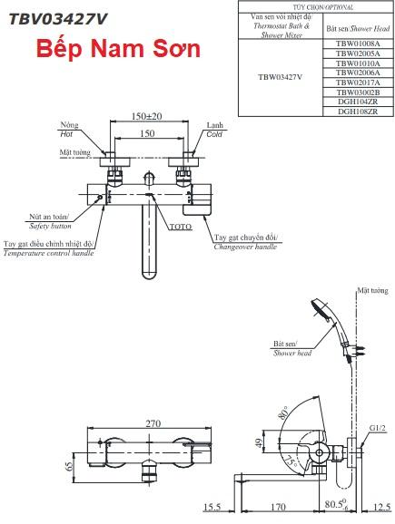 Sen tắm nhiệt độ TBV03427V/TBW03002B