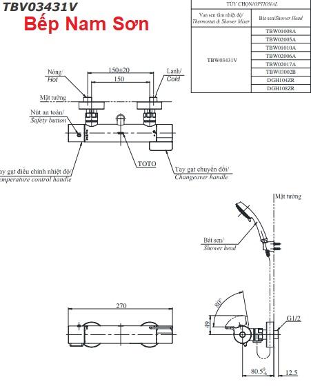 Sen tắm nhiệt độ TBV03431V/TBW01008A