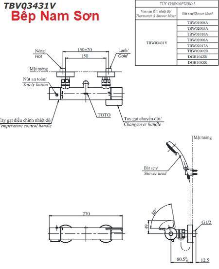 Sen tắm nhiệt độ TBV03431V/TBW02006A