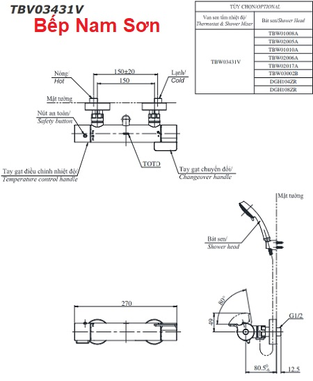 Sen tắm nhiệt độ TBV03431V/TBW02017A