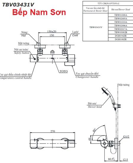 Sen tắm nhiệt độ TBV03431V/TBW03002B