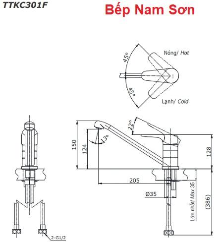 Vòi bếp nóng lạnh CRES TTKC301F